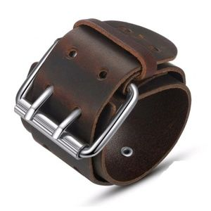 Other - Brown Leather Buckle Cuff Bracelet Wristband Men